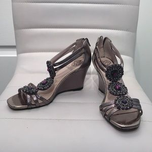 Vince Camuto Jeweled Wedge Sandals
